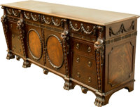 A Gostin of Liverpool Massive English Renaissance Revival-Style Carved Mahogany Partner's Desk and Credenza, mid-20th