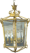 Decorative Arts, Continental:Lamps & Lighting, A Louis XVI-Style Glazed and Gilt Bronze Six-Light Hall Lantern,20th century. 31 inches high (78.7 cm). ...