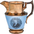 Political:3D & Other Display (pre-1896), Andrew Jackson: Exceptional Large-size Copper Luster Pitcher with the Rarer Blue Background....