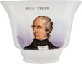 Political:3D & Other Display (pre-1896), John Tyler: A Rare Porcelain Cup with his Hand-painted Portrait....
