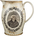 Political:3D & Other Display (pre-1896), Thomas Jefferson: Impressive Liverpool Creamware Pitcher with Striking Gold-leaf Embellishments....