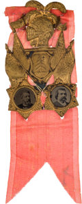 Political:Ferrotypes / Photo Badges (pre-1896), Blaine & Logan: Over-the-Top Ferrotype Jugate....