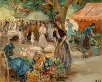 Marcel Dyf (French, 1899-1985) Marché aux fleurs à Arles, 1950 Oil on canvas 18 x 21-1/2 inches (