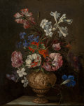Old Master:French, Attributed to Nicolas Baudesson (French, 1611-1680). A stilllife of roses, hyacinths, carnations and other flowers in an...