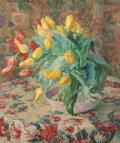 Paintings, Belgian School (20th Century). Still life with yellow and red tulips in bowl. Oil on canvas. 24 x 20 inches (61.0 x 50.8...