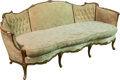Furniture : French, An Art Nouveau Upholstered Walnut Settee, circa 1900. 36-1/4 h x 84w x 38 d inches (92.1 x 213.4 x 96.5 cm). ...