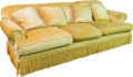 Furniture : American, A Yellow Velvet Upholstered Three-Seat Sofa, 20th century. 32 h x89 w x 37-1/2 d inches (81.3 x 226.1 x 95.3 cm). ...