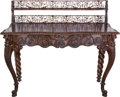 Furniture : Continental, An Anglo-Indian Carved Rosewood Two-Drawer Lady's Writing Desk,late 19th/early 20th century. 43 h x 51 w x 26-1/4 d inches ...