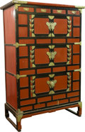 Paintings, A Japanese Red and Black Lacquer Cabinet with Silvered Metal Mounts, early 20th century. 64-1/2 h x 34 w x 21 d inches (163....