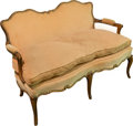Furniture , A Velvet Upholstered Walnut Settee, early 20th century. 30 h x 45 w x 24 d inches (76.2 x 114.3 x 61.0 cm). ...