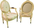 Furniture : French, A Pair of Louis XVI-Style Polychrome Painted and Silk UpholsteredFauteuils, 19th century. 38-1/2 h x 24-1/2 w x 19 d inches...(Total: 2 Items)
