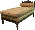 Furniture : Continental, An Upholstered Oak Daybed. 38-3/4 h x 32 w x 65 d inches (98.4 x81.3 x 165.1 cm). ...
