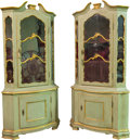 Furniture , A Pair of Italian Rococo-Style Painted and Partial Gilt Corner Cabinets, 19th century. 86-5/8 h x 43 w x 30 d inches (220.0 ... (Total: 2 Items)
