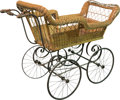 Furniture , A Wicker and Steel Spring Baby Pram, early 20th century. 37 h x 21 w x 47 d inches (94.0 x 53.3 x 119.4 cm). ...