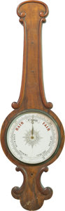 Decorative Arts, Continental, A Thomas Mason Carved Oak and Mahogany Wheel Barometer, late 19thcentury. Marks: (labels to verso). 40 h x 12-1/4 w inches ...