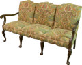 Furniture : Continental, A Baroque-Style Upholstered Walnut Three-Seat Settee, late 19thcentury. 36-1/4 h x 65-1/2 w x 26-1/2 d inches (92.1 x 166.4...