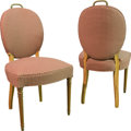Furniture : American, A Pair of Gingham Upholstered Blondewood Side Chairs, 20th century.39-1/4 h x 19-1/2 w x 20 d inches (99.7 x 49.5 x 50.8 cm... (Total:2 Items)