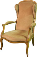 Furniture , A Louis XV-Style Upholstered Walnut Wingback Fauteuil, 19th century. 42-1/2 h x 27 w x 26 d inches (108.0 x 68.6 x 66.0 cm)...