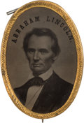 Political:Ferrotypes / Photo Badges (pre-1896), Abraham Lincoln: Large Oval Ferrotype Badge....
