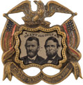 Political:Ferrotypes / Photo Badges (pre-1896), Grant & Colfax: Arguably the Premier Jugate Ferrotype Badge forthis 1868 Ticket....