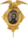 "Political:Ferrotypes / Photo Badges (pre-1896), Ulysses S. Grant: Exceptional ""Acts Not Words"" 1868-dated FerrotypeBadge...."