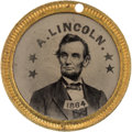 Political:Ferrotypes / Photo Badges (pre-1896), Lincoln & Johnson: Choice Back-to-Back Dated Ferrotype....