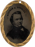 Political:Ferrotypes / Photo Badges (pre-1896), Stephen A. Douglas: Large Oval Ferrotype Badge....