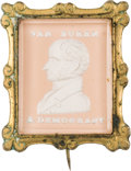 Political:Small Miscellaneous (pre-1896), Martin Van Buren: A Stunning 1840 Sulphide Portrait Brooch with Pink Background....
