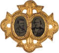 Political:Ferrotypes / Photo Badges (pre-1896), Grant & Wilson: Rare and Ornate Ferrotype Jugate....