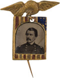 Political:Ferrotypes / Photo Badges (pre-1896), George McClellan: Possibly Unique Ferrotype Badge....