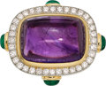 Estate Jewelry:Rings, Amethyst, Diamond, Emerald, Platinum-Topped Gold Ring, Gold, David Webb. ...