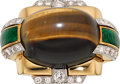 Estate Jewelry:Rings, Tiger's-Eye Quartz, Diamond, Enamel, Platinum, Gold Ring, David Webb. ...