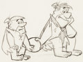 Animation Art:Production Drawing, The Flintstones Barney and Fred Layout Drawing(Hanna-Barbera, 1963)....