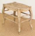 Furniture , A Continental Painted Wood and Rush Footstool. 16 h x 17 w x 13 d inches (40.6 x 43.2 x 33.0 cm). ...