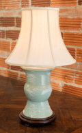 Asian:Chinese, A Chinese Pate-sur-Pate Celadon Pottery Vase Mounted as a TableLamp. 28 inches high (71.1 cm) . ...