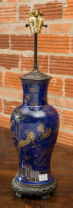 Asian:Chinese, A Chinese Kangxi-Revival Blue Glazed and Partial Gilt Vase Mountedas a Lamp, 19th century and later. 30-1/2 inches high (77...