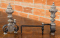 Paintings, A Pair of Spanish Baroque-Style Silvered Bronze and Wrought Iron Andirons, early 20th century. 16 h x 17-1/2 w x 8 d inches ...