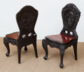 Asian:Chinese, A Suite of Four Carved and Black Painted Hardwood Side Chairs,mid-20th century. 38 h x 20 w x 16-1/2 d inches (96.5 x 50.8 ...(Total: 4 Items)