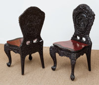 A Suite of Four Carved and Black Painted Hardwood Side Chairs, mid-20th century 38 h x 20 w x 16-1/2 d inches (96