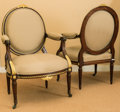 Furniture : French, A Pair of Louis XVI-Style Gilt Bronze Mounted Upholstered MahoganyFauteuils, early 20th century, . 39-1/2 h x 25-1/2 w x 20...(Total: 2 Items)