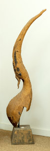 Asian, A Thai Carved Wood Chofa Architectural Fragment. 70 h x 12 wx 12 d inches (177.8 x 30.5 x 30.5 cm) (overall). ...