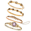 Estate Jewelry:Bracelets, Victorian Diamond, Amethyst, Half-Pearl, Gold Bracelets. ...(Total: 3 Items)