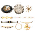 Estate Jewelry:Brooches - Pins, Victorian Diamond, Multi-Stone, Seed Pearl, Enamel, Gold, Silver Brooches. . ... (Total: 10 Items)