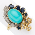 Estate Jewelry:Rings, Turquoise, Sapphire, Diamond, Gold Ring. . ...