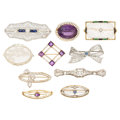 Estate Jewelry:Brooches - Pins, Diamond, Multi-Stone, Seed Pearl, Enamel, Gold, Platinum-ToppedGold Brooches. . ... (Total: 10 Items)