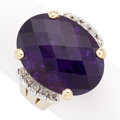 Estate Jewelry:Rings, Amethyst, Diamond, Gold Ring. . ...
