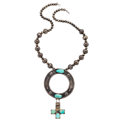 Estate Jewelry:Necklaces, Turquoise, Silver Necklace. . ...