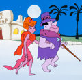 Animation Art:Production Cel, A Man Called Flintstone Fred and Tanya Production Cel andPresentation Background (Hanna-Barbera, 1966).... (Total: 2 )