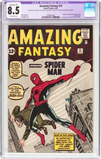 Amazing Fantasy #15 (Marvel, 1962) CGC Apparent VF+ 8.5 Extensive (P) Off-white pages