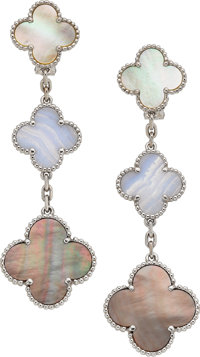 Mother-of-Pearl, Agate, White Gold Earrings, Van Cleef & Arpels, French